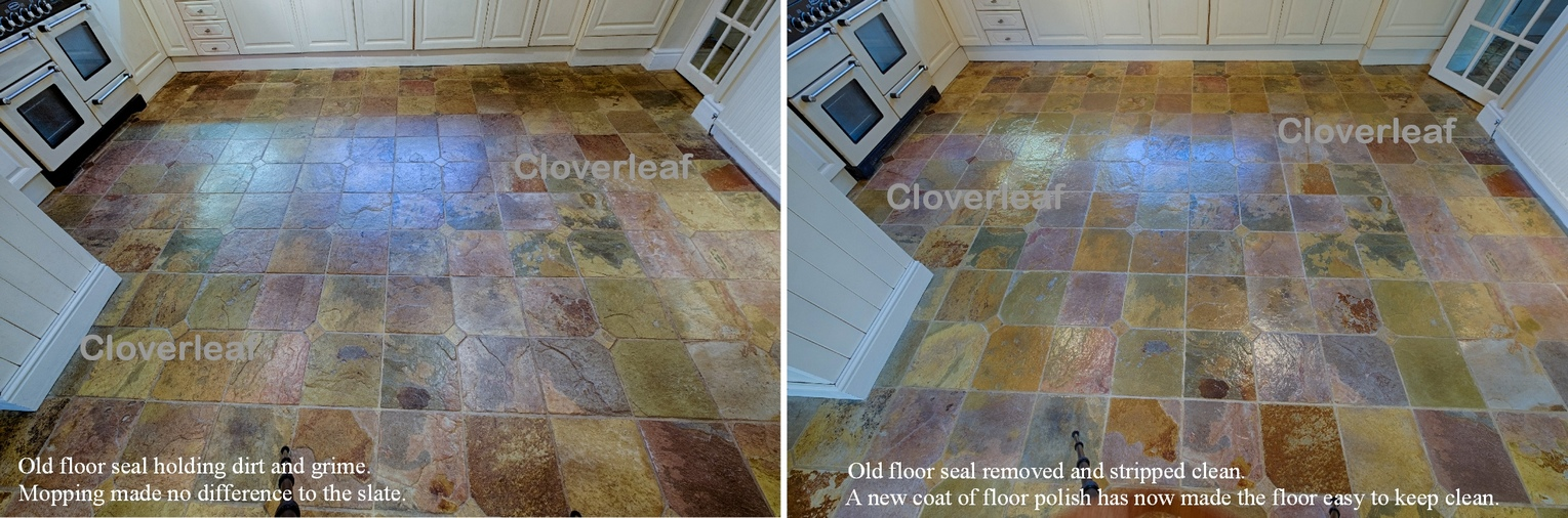 Cleaning of a slate floor in Cheshire