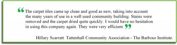 customer testimonial Cheshire carpet cleaning