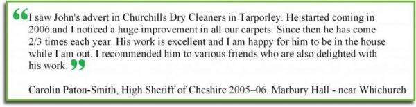 Crewe carpet cleaning testimonial